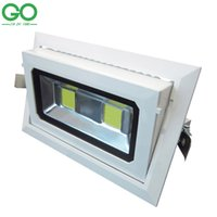 downlight rectangular led al por mayor-Downlights del LED 50W COB Rectangular luces de techo empotradas Down 130-140lm / w Iluminación Downlight ajustable rotatorio luces de interior