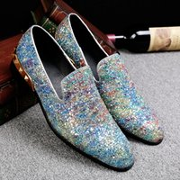 Wholesale bronze bling - Bling Rivets New Luxury Design Shoes Men Fashion Pointed Toe Dress Flat heels Shoes Slip On Men Brand Shallow Leather Shoes
