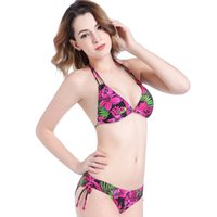 Wholesale Colorful Padded Bra - Fashion Sexy Colorful Printing Clothes With A Removable Chest Pad Large Size Women Bikini Swimsuit Bras