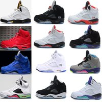 Wholesale Red Cdp - Air retro 5 men Basketball Shoes Olympic OG metallic Gold Red blue Suede CDP Black Metallic white grape Fire Red bel-air Sport Sneakers