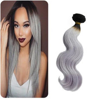 Wholesale Virgin Ombre Hair For Weave - brazilian body wave bundles virgin silver grey hair weave for black women cheap hair free shipping