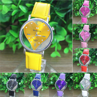 Wholesale Womage Colors - WoMaGe 9727-1 8 Colors PU Leather Transparent Dial Hollow Heart Analog Quartz Wrist Watch New Casual Watch Women Dress Watches