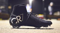 Black CR7 Soccer Cleats Original Mercurial Superfly V FG / TF Cristiano Ronaldo 7 chaussures de football en cuir à manches longues