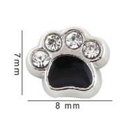 emaye lânet takılar toptan satış-7 * 8mm Kristal Emaye Siyah Köpek Paw Yüzer Locket Charms Cam Manyetik Bellek Madalyon Kolye Için Fit