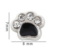 Wholesale Enamel Paw Charms - 7*8mm Crystal Enamel Black Dog Paw Floating Locket Charms Fit For Glass Magnetic Memory Locket Pendant