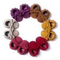 Wholesale Girl Effects - New Baby Tassels Bowknot Shoes Fashion Design Kids First Walk Shoes Pu Leather Matte Effects Toddlers Moccasins Girls Boys Shoes F372