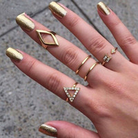 Wholesale Women Finger Tip Ring - 5pcs crystal women knuckle rings female stacking punk ring geometry triangle midi finger tip set charm anelli