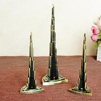 Wholesale Khalifa Tower - 18cm Height Metal Craft UAE Dubai Famous Landmark Burj Khalifa Tower Model