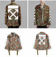 Wholesale Striped Sticker - 2017 New camouflage OFF WHITE Jackets hoodies for men Fashion design off white stripe offset print jacket with gold stickers clothing