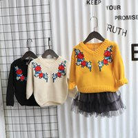 Wholesale Kids Floral Jumper - Girl sweater children rose flowers embroidered knitting pullover kids V-neck princess tops sweater New winter children clothing A00125