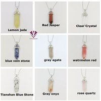 Wholesale necklaces red roses - Necklace Jewelry Cheap Healing Crystals Amethyst Rose Quartz Bead Chakra Healing Point Women Men Natural Stone Pendants free shipping