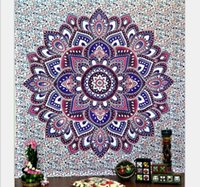 Wholesale Knit Tablecloth - Bohemia Indian Mandala Beach Throw Printed Tapestry Hippy Tablecloth Beach Towel Yoga Polyester square Mat screen Shawl cappa QZZW039