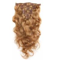 bakire saç tokası uzantıları toptan satış-7A 100% Virgin İnsan Saç Uzantıları Klip Remy Saç Vücut Dalga Tam Başkanı Çilek Sarışın