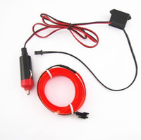 Red 2M EL-Wire 12V Car Interior Decor Fluorescent Neon Strip Cold Light Tape Livraison gratuite