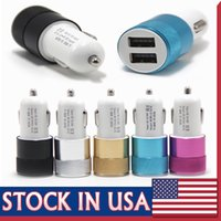 Wholesale Universal Auto Adapter - Metal Alloy Shell Universal 2.1A Dual USB 2 Port Car Charger Auto Charging adapter For Apple iphone5 6 Samsung Blackberry