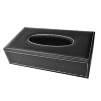 Vente en gros - SZS Hot Car Home Rectangle en forme de cuir en faux Papier en papier Tissue Box Holder Noir