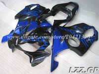 Wholesale Honda F4i Blue Flame Fairings - black blue flame for Honda CBR600F4i 01 02 03 CBR600 F4i 2001-2003 2002 CBR600F4i 2001 2002 2003 abs fairings #e82m3 injection fairing sets