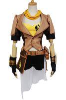 tenue de combat achat en gros de-Kukucos Anime Halloween RWBY Jaune Remorque Yang Xiao Longue Fête Dress Up Cosplay Costume Veste Complète Bataille Costume