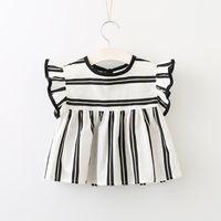 ropa para niños al por mayor-Bebé niña de verano camisas de rayas niños niña princesa algodón Jumper Tops bebé coreano blut manga blusa niños ropa