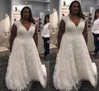 Wholesale African Hand Made Bead - Black African Women Plus Size wedding dresses 2017 Wedding Gowns V Neck Sleeveless Lace Appliques Stunning Tulle Bridal Dress Sweep Train