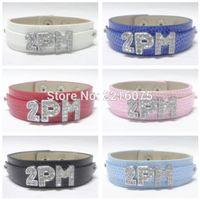 Wholesale K Bar Wholesale - Wholesale- K-POP 2PM Wristband Bracelets Rhinestone Metal Slide Letter Charm DIY bangles free shipping