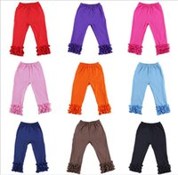 Wholesale wholesale ruffle leggings - Free Ship 2016 Baby Girls Cotton Ruffles Leggings Pants tight Toddlers Children Baby Kids Ruffle Leggings With Ruffled kids clothes 1-7Y