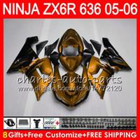 Wholesale Ninja Gold - 8Gifts 23Colors kit For KAWASAKI NINJA ZX636 ZX6R 05 06 600CC Gold flames 27NO98 ZX-636 ZX-6R 05-06 ZX 636 ZX 6R 2005 2006 Fairing Bodywork