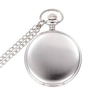 Wholesale Silver Mens Pocket Watches - Silver Mirror Design Case Pokcet Watches Mens Analog Quartz Modern Pocket Watch include Chain W004