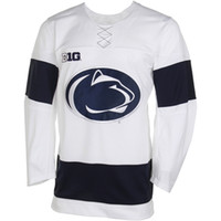 Wholesale Big Ten - Mens NCAA Penn State Nittany Lions Twill Hockey Jersey White Stitched Big Ten PSU Team College Hockey Jerseys S-3XL