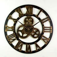 decoración de pared vintage para sala de estar al por mayor-4 Estilo de La Vendimia Hueco Engranaje Redondo Reloj Creativo Sala de estar En Casa Decoración Del Dormitorio Relojes de Pared Envío Gratis WX9-44