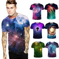 Wholesale Mens Galaxy T Shirt - Mens fashion t shirt 2017 designer shirts slim Round Neck Tops Casual Short Sleeve T-shirt Galaxy Print 3d sweatshirt Pullovers S-XXL