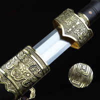 Wholesale Steel Chinese Swords - Chinese Traditional handmade Han sword pattern steel (608) Eight surface blade Gold fittings ebony Scabbard home decor swords
