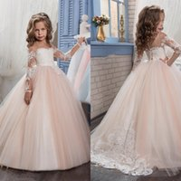 Wholesale Easter Shirt For Child - 2017 New Flower Girls Dresses For Weddings Jewel Neck Long Sleeves Lace Appliques Sweep Train Ball Gown Birthday Children Girl Pageant Gown