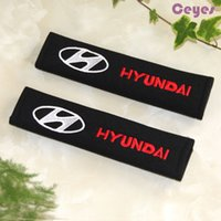 Wholesale Hyundai Santa - 2pcs lot Car Seat Belt Pure Cotton Cover for Hyundai solaris tucson creta santa fe Safety Belt Cover Car Accessories Styling
