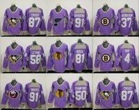 Wholesale Brown Cancer - 1917-2017 100th 91 Vladimir Tarasenko 87 Sidney Crosby 37 Patrice Bergeron 91 John Tavares purple 2016 Hockey Fights Cancer Practice Jersey