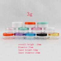 пластиковая косметическая баня оптовых-Leanhu 3G Mini Plastic Cream Sample Container Маленький контейнер для ногтей для ногтей Косметическая упаковка для бутылок Clear Pot Can 196pc / lot
