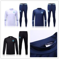 Wholesale Mens Black Spandex Pants - ^_^ Wholesale soccer tracksuit Marseille top AAA quality long sleeve Training suit pants football training clothes sports wear mens Sweater