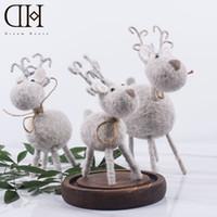 Wholesale Miniature Shorts - DH wool reindeer christmas figurine decoration xmas miniatures christmas decorations for home navidad gift christmas ornaments