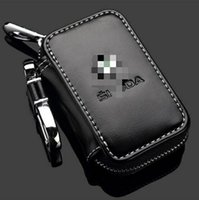 Wholesale Hot Selling Car Accessories - 2017 Hot Selling Skoda Key Case Premium Leather Car Key Chains Holder Zipper Remote Wallet for SKODA Logo Remote key bag cover accessories