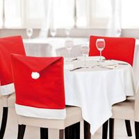 neue mode stuhl abdeckung großhandel-1 stücke 2015 Neue Mode Weihnachtsmann Red Hat Chair Zurück Abdeckung Weihnachten Tisch Party Decor Für Weihnachten