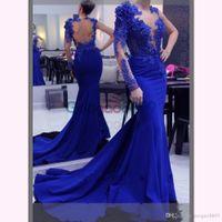 3d spitze abendkleid großhandel-3D Floral Applique Langes Abendkleid 2017 Mermaid Abendkleider Spitze Royal Blue Formale Abendkleider Arabisch Abendkleider Robe De Soiree