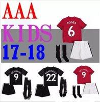 Wholesale R 17 - Top quality 2017 2018 children's children boy set IBRAHIMOVIC POGBA joint soccer shirt uniforms SCHWEINSTEIGER MEMPHIS MATA 17 18 children R