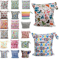 Wholesale baby printed cloth diapers - 48 styles Baby Diaper Bags Portable Nappy Stackers Wet Dry Cloth Storage Bag Zipper Waterproof Diaper Bag Infant Nappy Stacker Bag KKA2247