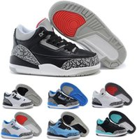 Wholesale Shoes Eva Kids Boy - Retro 3 Kids Shoes Retro 3s Air Basketball Shoes Children Toddler Boys Girls Baby Blue Years Brands Authentic Sneakers Size 11C-3Y