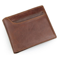 Wholesale Pure Leather Wallets - 2017 New High Quality 100% Pure Genuine Leather Wallet Men's Short Wallets 8104