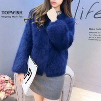 Wholesale Long Mink Coats Sale - Wholesale- 100% Genuine Mink Cashmere Coat Knitted Natural Real Mink Cashmere Cardigans Women Hot Sale Factory Wholesale Sweater TFP946