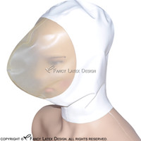 Wholesale Costume Play - Sexy Re Breather Latex Hood Short Nose With Zipper At Back And Open Nose Fetish Breath Play Rubber Mask Bondage Cocoon Latex Mask