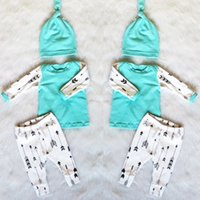 Wholesale Boys 3piece - 2017 INS New cute Baby Girls Boy Outfits 3piece Set Cotton Long Sleeve Anchor print shirts tops blouse + pants legging + hats Spring Clothes