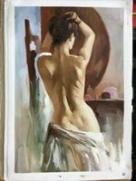 Wholesale Sexy Nude Wall Art - Yi Le Mai Frameless Pure Hand Painted Modern Wall Decoration Art Oil Painting On Quality Canvas Nude Back Sexy Girl Competitive Price