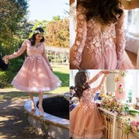 Long Sleeve Heimkehr Kleider Puffy Röcke Backless 3D Floral Appliqued Formal Abendkleider Ballettröckchen Kurzes Knielänge Abendkleid